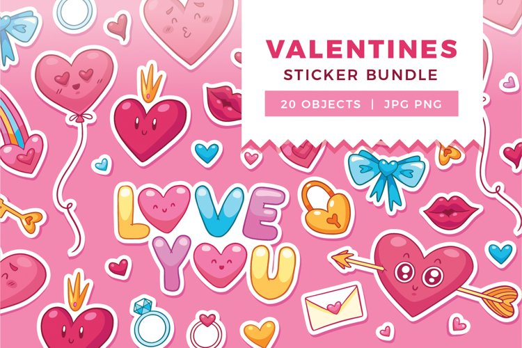 Valentines Day Sticker Bundle | Multipurpose Vector Objects