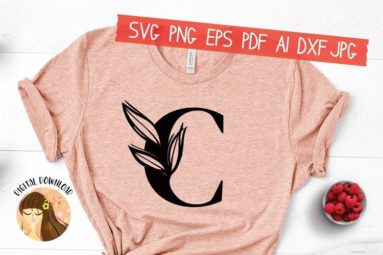 C - Floral Letter Design Svg