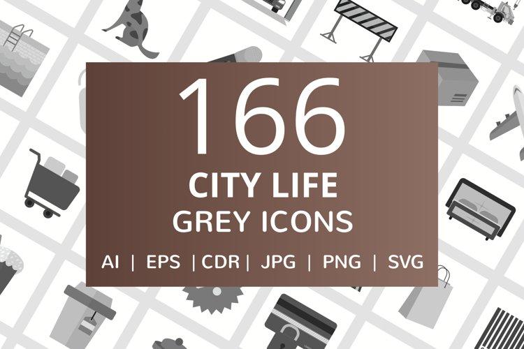 166 City Life Flat Greyscale Icons example image 1