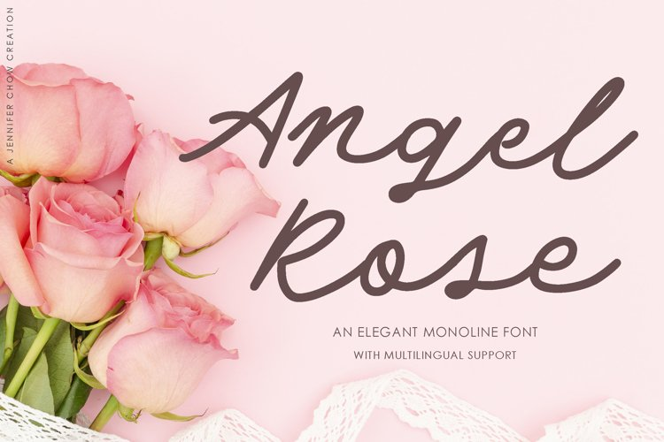 Web Font Angel Rose | An Elegant Monoline Font