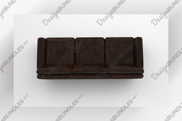 Chocolate brown sofa top view furniture 3d rendering example image 1