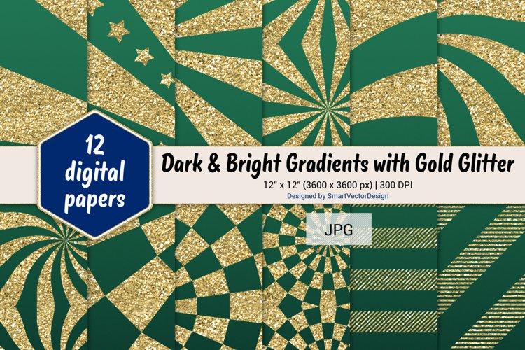 Sunburst & Hatch Stripes - Gradients with Gold Glitter #18