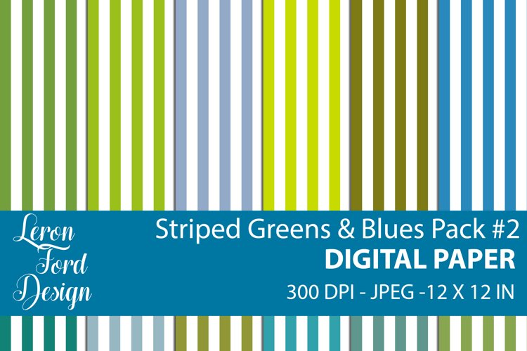 Striped Blues & Greens Pack #2 Digital Paper example image 1