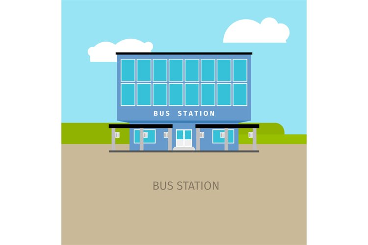 Colored bus station building illustration example image 1