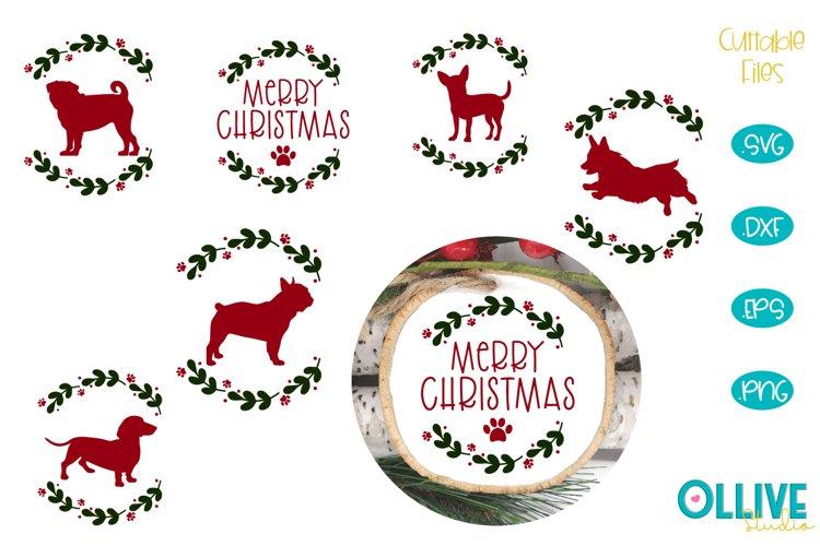 Dog Christmas Round Ornament Bundle SVG example image 1