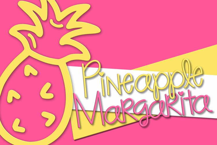 Pineapple Margarita   A Fun Font with Pineapple Doodles example image 1