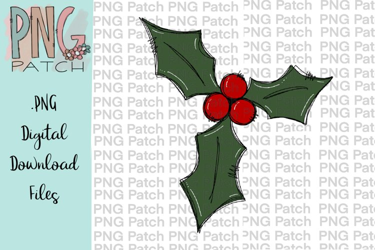 Holly Berry, Christmas PNG File, Holiday Sublimation Design example image 1