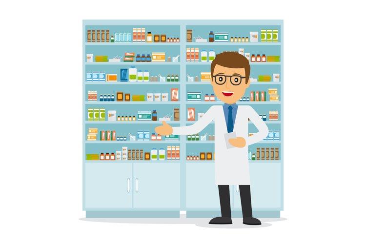 Male pharmacist on medicine background example image 1