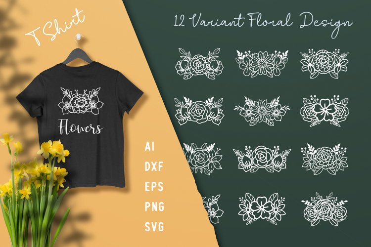 Beautiful Floral Cut File Elements example image 1