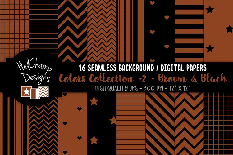 16 seamless Digital Papers - Brown and Black - HC154 example image 1