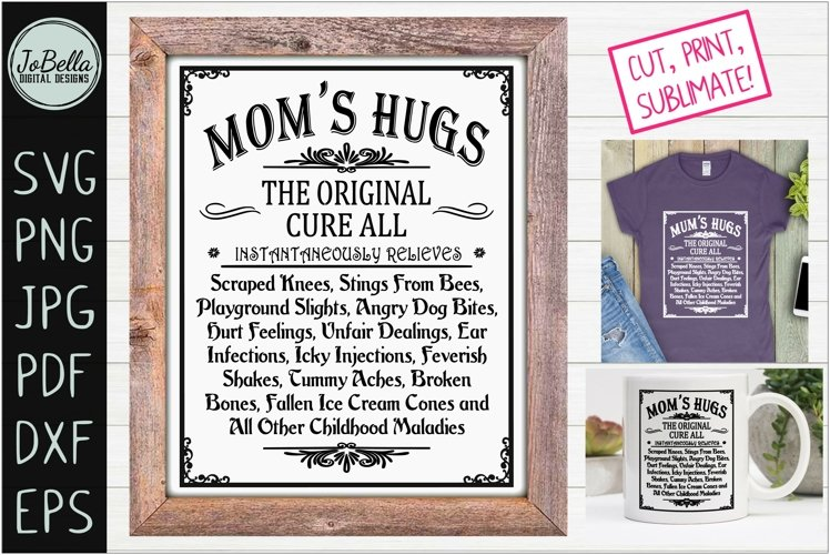 Moms Hugs SVG and Printable Mothers Day Farmhouse Design