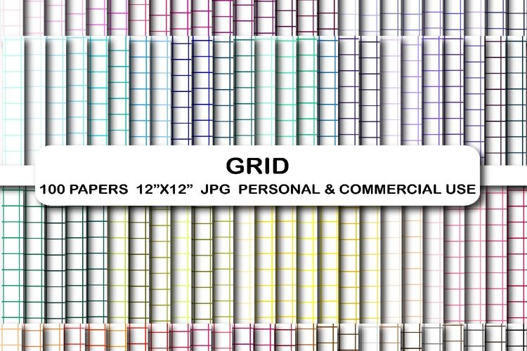 100 Grid digital papers Lines Stripes pattern background example image 1