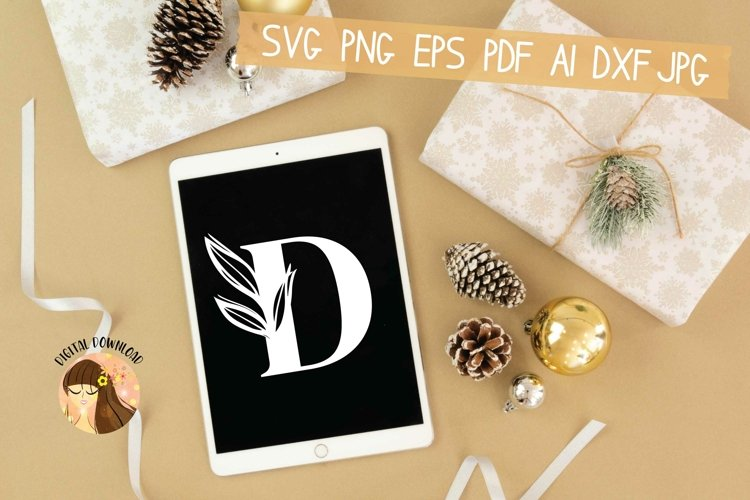 D - Floral Letter Design Svg