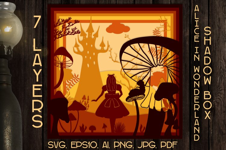 Alice in wonderland light box / Shadow box 3d svg
