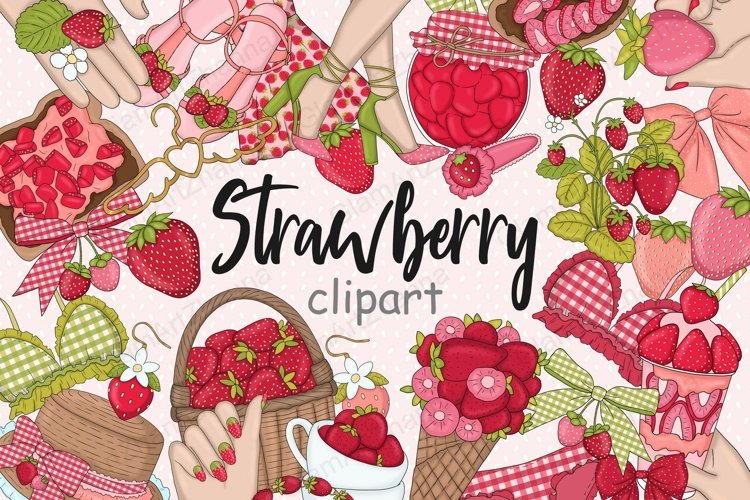 Strawberry CLIPART Summer Woman Picnic Sticker Set - PNG
