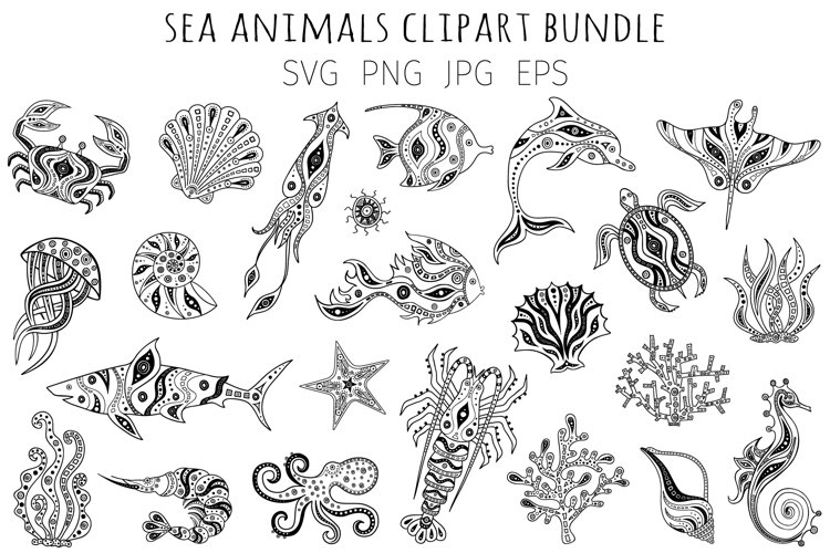 Bundle sea animals svg. Silhouettes of marine life for cut. example image 1