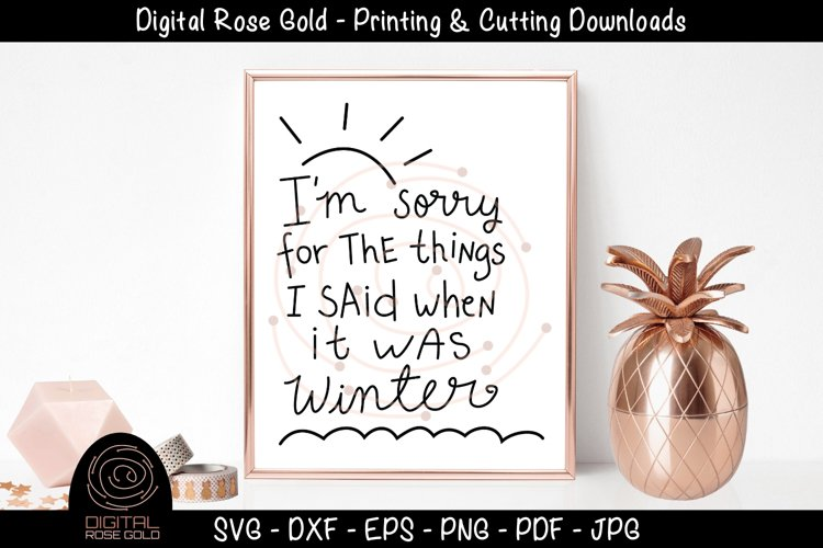 I'm Sorry For Seasons - Funny Summer SVG, Funny Winter SVG example image 1