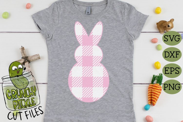 Plaid & Grunge Spring Easter Bunny 1 SVG Cut File example 2