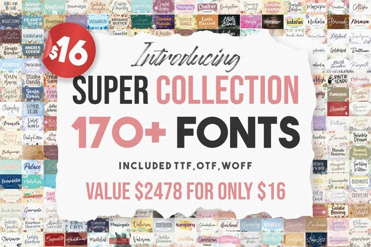 Super Collection | 170 Plus Font Bundles example image 1