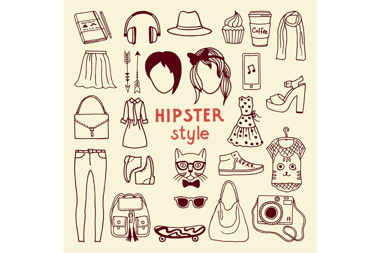 Funky hipster style elements of female. Different stylish ac example image 1
