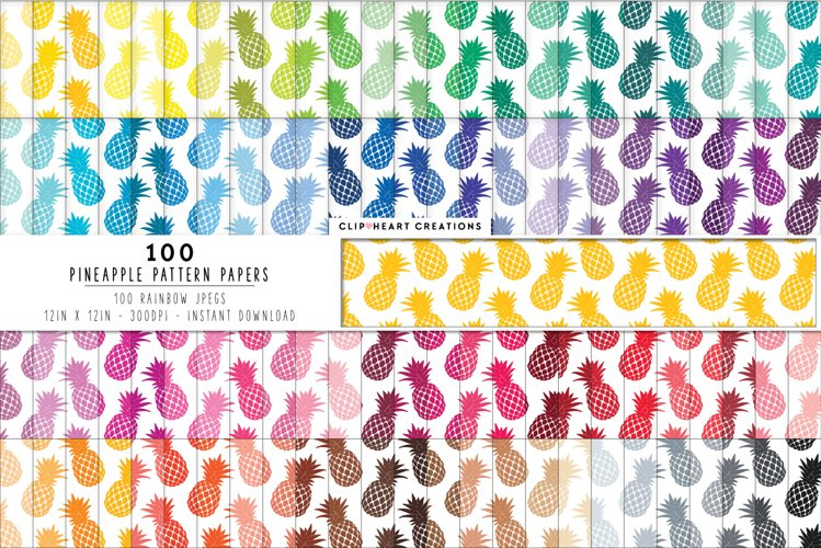 100 Pineapple Pattern Digital Papers - rainbow colors example image 1