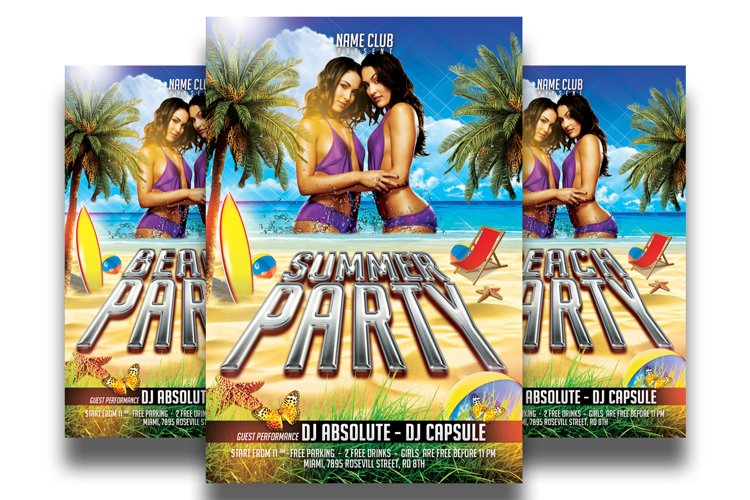 Summer Party Flyer Template 4