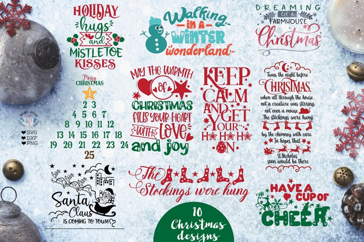 Ten Christmas Cut Files and Sublimation Bundle