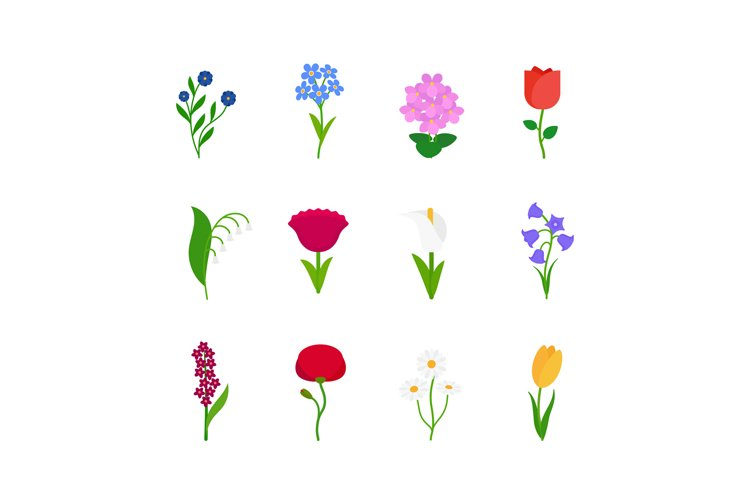 Spring flowers icons example image 1