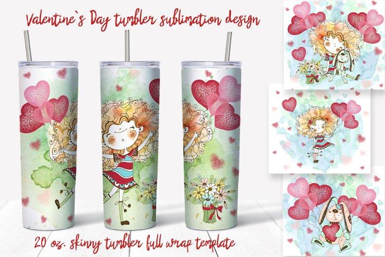 Skinny tumbler Png. Valentine's day design. Skinny tumbler example image 1