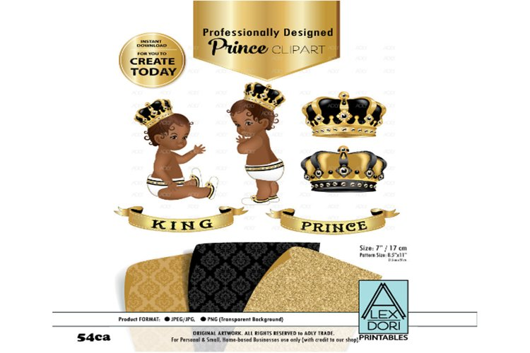 Black and Gold Baby Prince/King Royal Digital Clipart,Crown example image 1