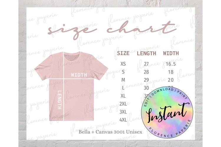 Bella Canvas 3001 Size Chart, Unisex T Shirt Size Chart example image 1