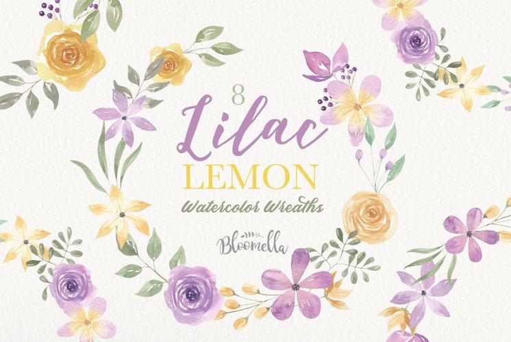 Lilac Lemon Wreaths Watercolor Floral Border Flowers Summer