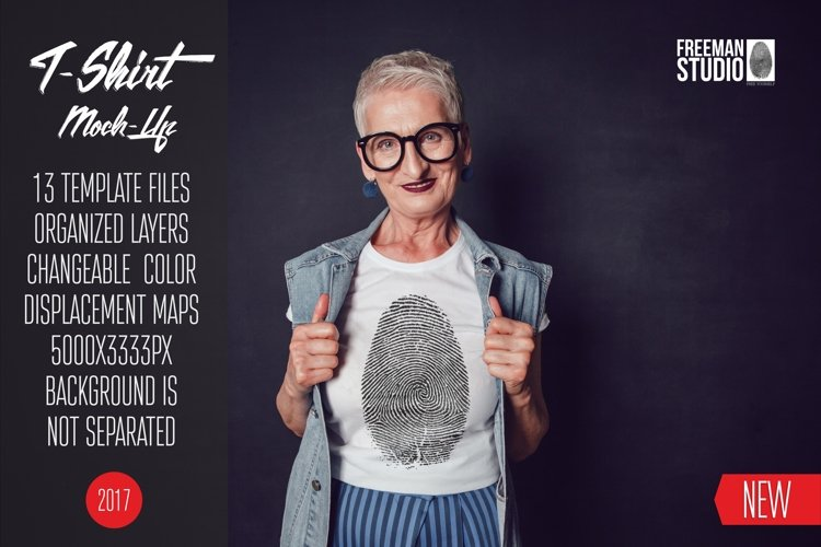 Old Woman T-Shirt Mock-Up example image 1