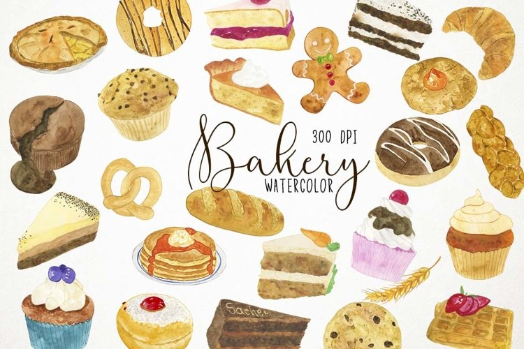Watercolor Bakery Clipart, Bakery Clip Art, Bakery PNG example image 1
