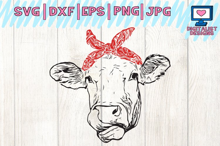 Cow svg, cow clipart, cow face svg, svg files, bandanna, heifer svg, cricut, silhouette, vector, printable, iron on, dxf, png, cow vector