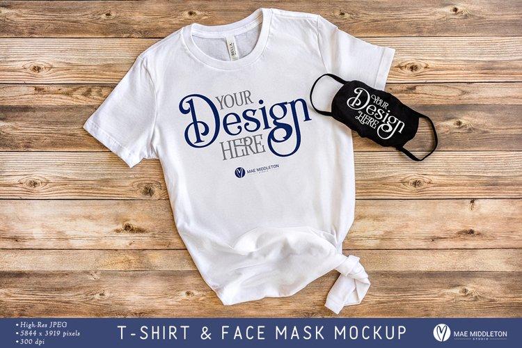 Bella Canvas T-shirt & Face Mask Mockup | Styled Photo, jpg