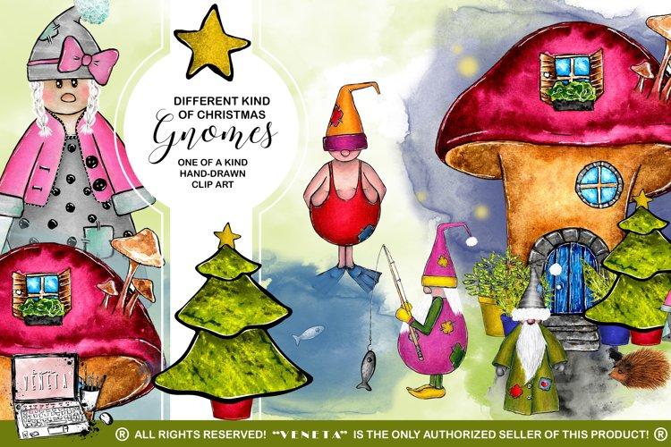 Gnomes | Christmas | Watercolor ClipArt | Dwarf| Sublimation