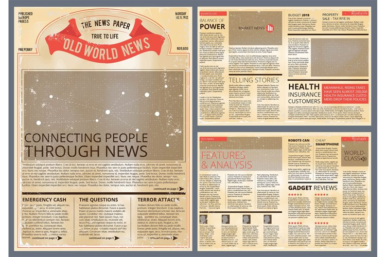 Vector design template of vintage newspaper example image 1