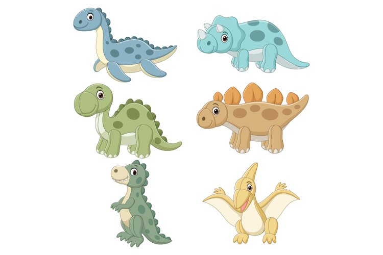 Set of Six Cute Doll Dinosaurs Character example image 1