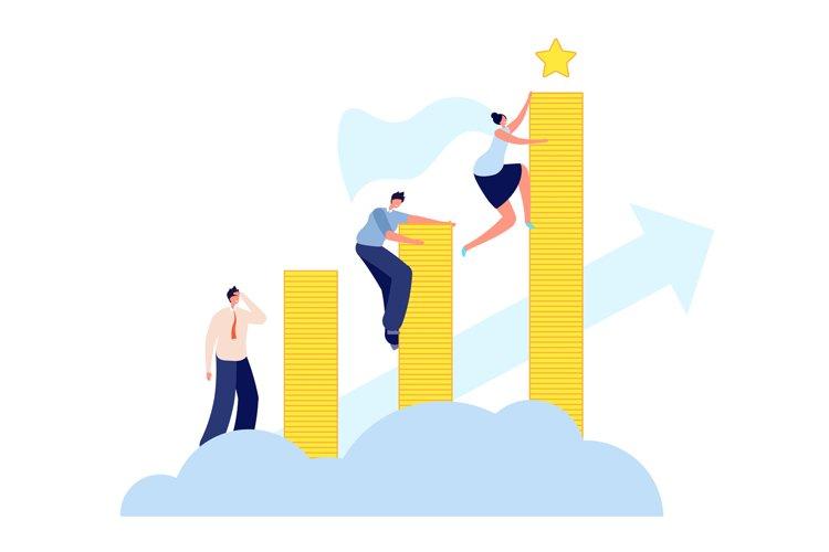 Female career growth. Modern business, woman aspiring to suc