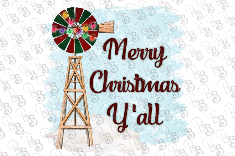 Christmas Windmill Merry Christmas Y'all Farm Clipart example image 1