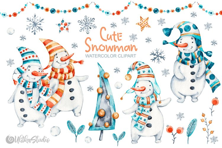 Cute Xmas naive Snowman Christmas watercolor nursery clipart example image 1