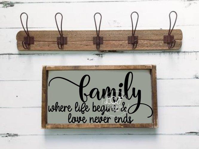Family Where Life Begins & Love Never Ends//SVG/EPS/DXF