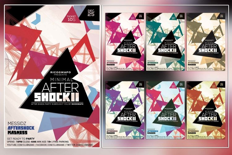 Minimal After Shock Photoshop Flyer Template example image 1