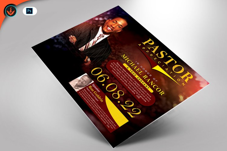 Pastor's Appreciation Church Flyer Photoshop Template example image 1