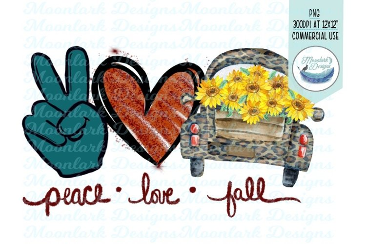 peace love fall, leopard truck with sunflowers png, example image 1