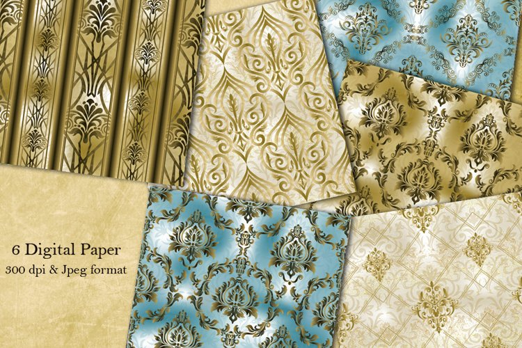 Collection of 6 seamless damask patterns. Digital Paper. example image 1