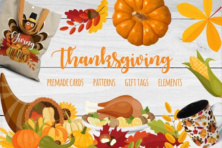 Thanksgiving set with vector elements, cards, patterns