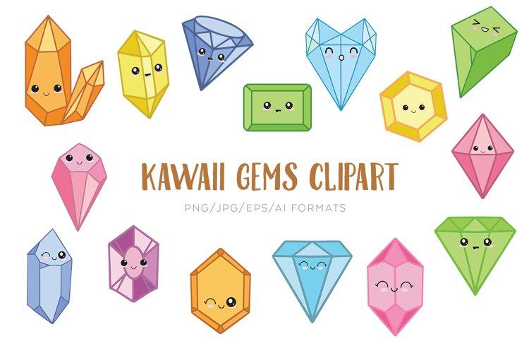 Kawaii Gems Vector Clipart example image 1
