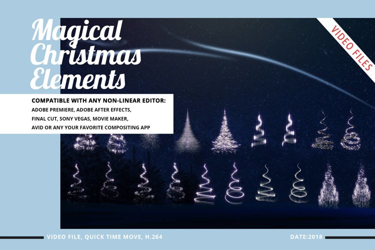 Magical Christmas Video Elements - Star-Snow-Tree example image 1